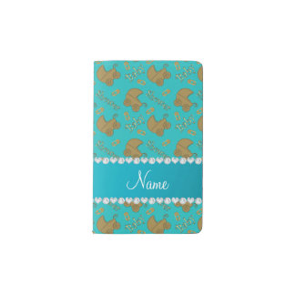 Name turquoise gold baby carriages pins baby pocket moleskine notebook cover with notebook