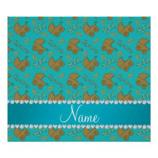 Name turquoise gold baby carriages pins baby poster
