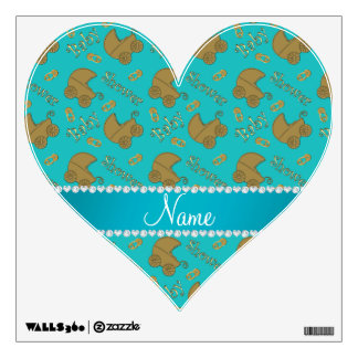Name turquoise gold baby carriages pins baby wall skins