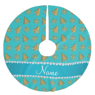 Name turquoise gold christmas trees snowflakes brushed polyester tree skirt