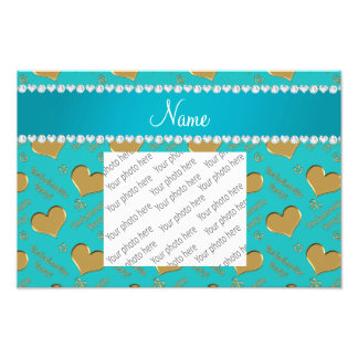 Name turquoise gold hearts bachelorette party photo print