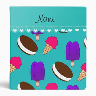Name turquoise ice cream cones sandwiches popsicle vinyl binders