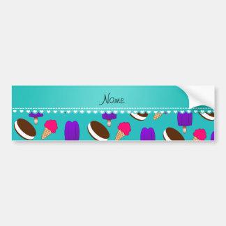 Name turquoise ice cream cones sandwiches popsicle car bumper sticker