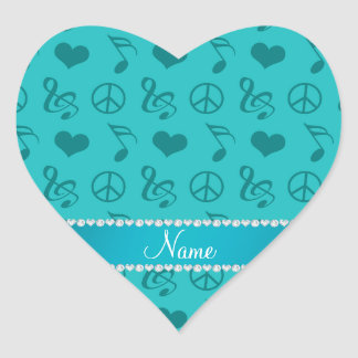 Name turquoise music notes hearts peace sign heart sticker