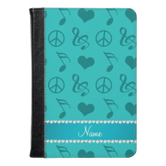 Name turquoise music notes hearts peace sign kindle case