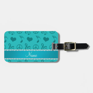Name turquoise music notes hearts peace sign luggage tag