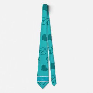 Name turquoise music notes hearts peace sign neck tie