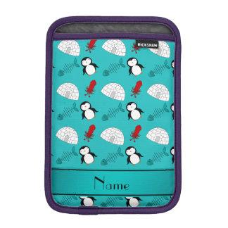 Name turquoise penguins igloo fish squid iPad mini sleeve