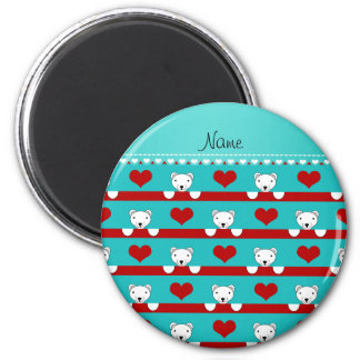 Name turquoise polar bears red hearts stripes 2 inch round magnet