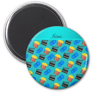 Name turquoise popcorn movie ticket action sign 2 inch round magnet