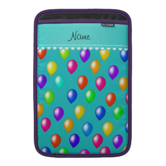 Name turquoise rainbow birthday balloons MacBook air sleeve
