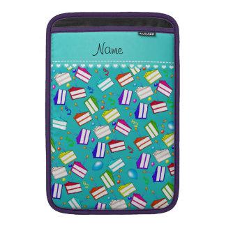 Name turquoise rainbow cakes balloons swirls MacBook air sleeve