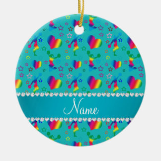 Name turquoise rainbow cheerleading hearts stars ceramic ornament