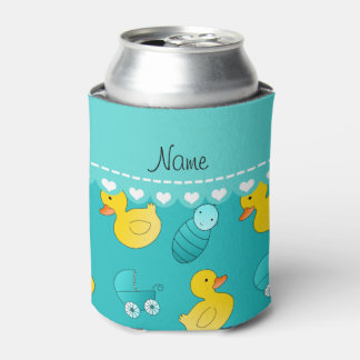 Name turquoise rubberduck baby carriage can cooler