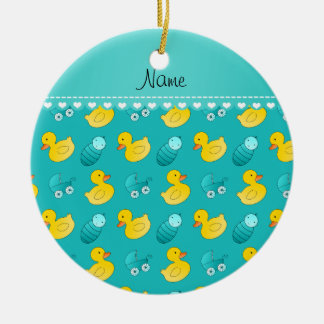 Name turquoise rubberduck baby carriage ceramic ornament
