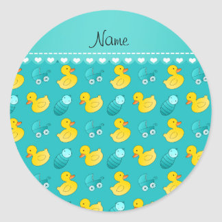Name turquoise rubberduck baby carriage classic round sticker