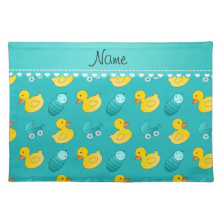 Name turquoise rubberduck baby carriage cloth placemat