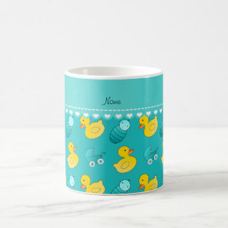 Name turquoise rubberduck baby carriage coffee mug
