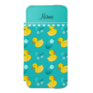 Name turquoise rubberduck baby carriage iPhone SE/5/5s wallet case