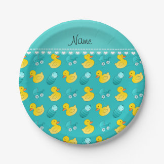 Name turquoise rubberduck baby carriage paper plate