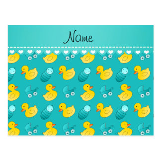 Name turquoise rubberduck baby carriage postcard