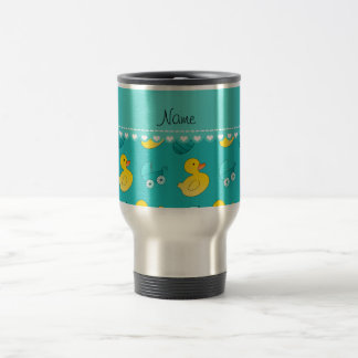 Name turquoise rubberduck baby carriage travel mug