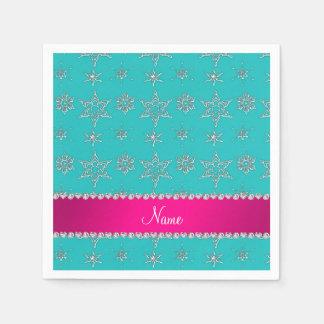 Name turquoise silver snowflakes pink stripe paper napkin