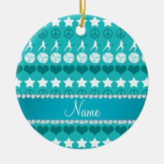 Name turquoise volleyballs stars hearts peace ceramic ornament
