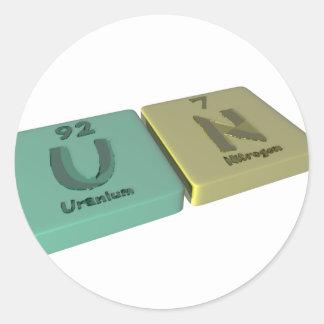name-Un-U-N-Uranium-Nitrogen Classic Round Sticker