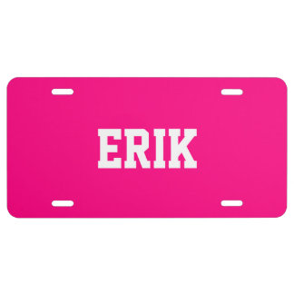 Name Upscale Full Color Bright Pink License Plate