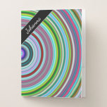 [ Thumbnail: Name + Vibrant Colorful Circles/Rings Pattern Pocket Folder ]