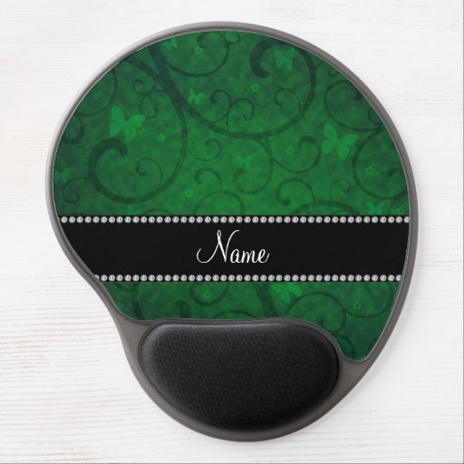 Name vintage bright green swirls and butterflies gel mousepad