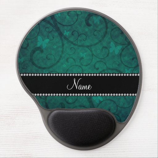 Name vintage green swirls and butterflies gel mouse pads