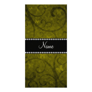 Name vintage mustard yellow swirls and butterflies customized photo card