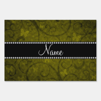 Name vintage mustard yellow swirls and butterflies yard signs