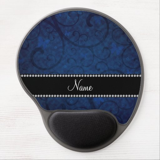 Name vintage navy blue swirls and butterflies gel mouse mat