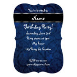 Name vintage navy blue swirls and butterflies custom announcements