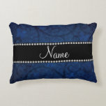 Name vintage navy blue swirls and butterflies accent pillow