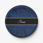 Name vintage navy blue swirls and butterflies 7 inch paper plate