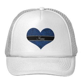 Name vintage navy blue swirls and butterflies trucker hat