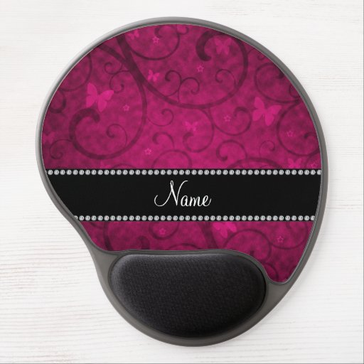 Name vintage pink swirls and butterflies gel mouse pads