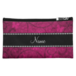 Name vintage pink swirls and butterflies makeup bag