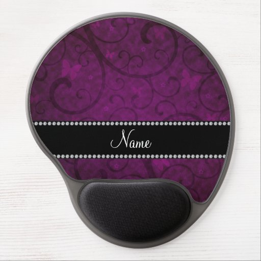 Name vintage purple swirls and butterflies gel mouse mat