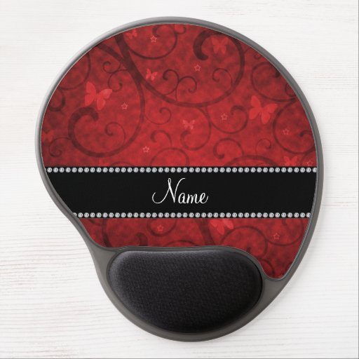 Name vintage red swirls and butterflies gel mouse pads