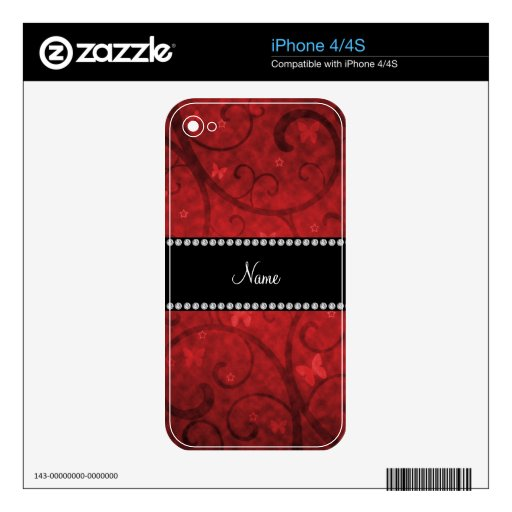 Name vintage red swirls and butterflies skins for the iPhone 4