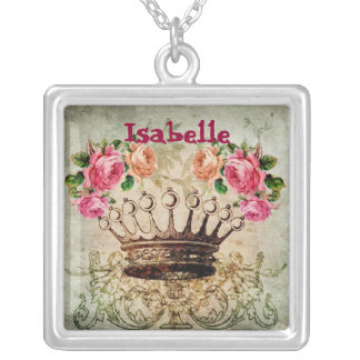 Name Vintage Rose and Crown Square Necklace