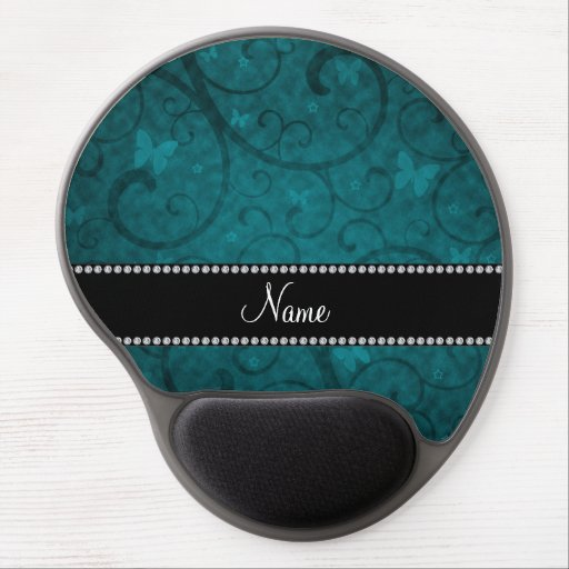 Name vintage teal swirls and butterflies gel mouse mat