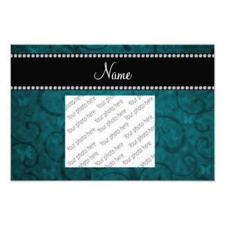 Name vintage teal swirls and butterflies photo print