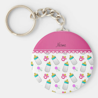 Name white baby bottle rattle pacifier basic round button keychain