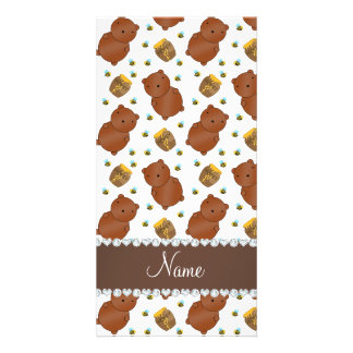 Name white bears honeypots bees pattern photo card
